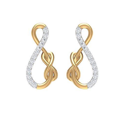Pendientes de diamantes HI-SI con forma de inifinidad, pendientes de oro, pendientes mínimos, rosca trasera amarillo