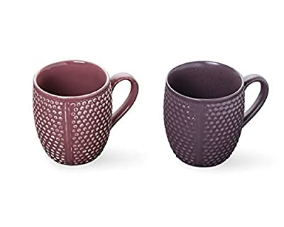 Store Indya, Set of 2 Handcrafted Ceramic Tea Coffee Cup Mug Diamond Design Pottery Cup Kitchen Dining Serve ware Accessories