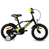 HILAND Adler - Bicicleta infantil de 16 pulgadas para niños a partir de 4 años, con ruedines, freno de mano y freno de contrapedal, color negro y verde