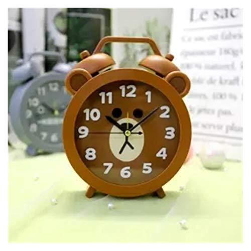 QHMDZ Despertador Dibujos Animados Reloj Despertador Oso Gato Moda Temporal Alarma Cuarzo Reloj Estudiante Estudiante Hombres Mujeres niños Regalos para niños (Color : Brown)