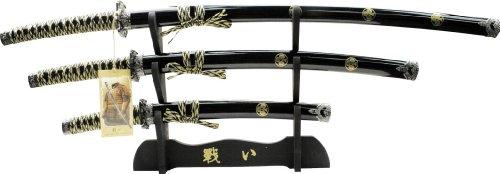 BladesUSA YK-58BF4 Katana Samurai Sword Set 3 Piece 40-Inch Overall,Yellow