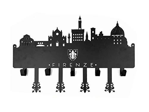 BA+ Portachiavi da Parete in Ferro Verniciato con 5 Ganci e la rappresentazione dello Skyline di Firenze, con i monumenti più Importanti della Città