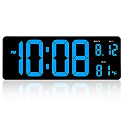 DreamSky 14.5 Inches Extra Large LED Digital Clock with Date Indoor Temperature Display, Oversized Desk Office Wall Clock with Fold Out Stand, Large Number Display, Outlet Powered Clock with Auto DST