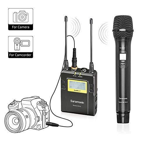 Saramonic Sistema de Micrófono Portátil Inalámbrico UHF UWMIC9 con Micro Portátil con Transmisor, Receptor con Soporte para Cámara & Salidas XLR/3.5 mm