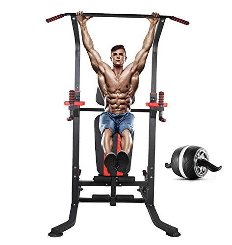 KHXJYC Multifunktionaler Kraftturm, Einstellbare KlimmzüGe, Einzelne Parallele Stangen Und Horizontale Stangen FüR Den Arm, MuskeltrainingsgeräT, RöMischer Stuhl, Klappbares Gewichtheberbett