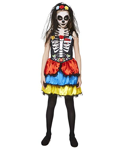 Girl's Day of The Dead Costume - for Halloween Party Accessory - Large Black
