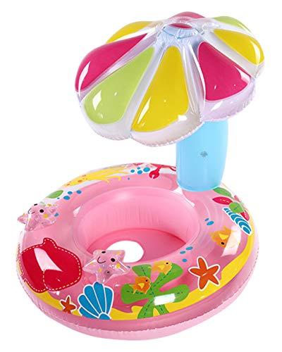 DEMU Baby Schwimmhilfe Schwimmsitz Schwimmring Babyboot Pilz mit Sonnendach Baby Float Pool Rosa