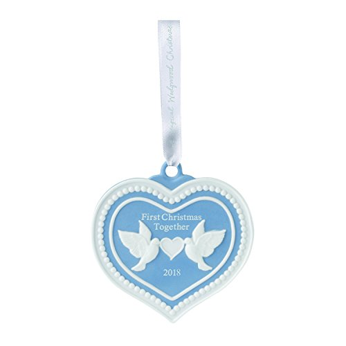 Wedgwood 40032823 2018 First Christmas Together Doves Heart Ornament, Blue