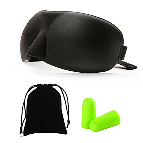 Bringsine Contoured & Comfortable Sleep Mask & Ear Plugs Kit. Includes Carry Pouch for Eye Mask and Ear Plugs - for Travel, Shift Work & Meditation Black