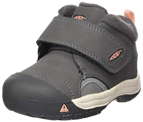 KEEN unisex child Kootenay 3 Mid Waterproof Hiking Boot, Steel Grey/Dusty Pink, 4 Big Kid US
