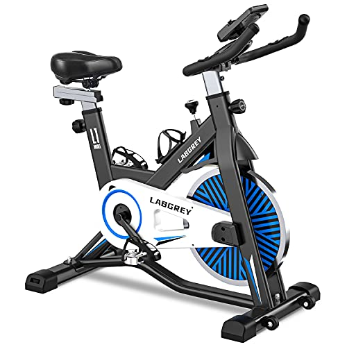 LABGREY Exercise Bike, Stationary Indoor Cycling Bike, Cycle Bike with Heart Rate Sensor & Comfortable Seat Cushion, Quiet Fitness Bike for Home Cardio Workout
