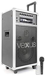 Vexus ST110 mobile PA-Anlage mobiler Vertstärker als Trolley Karaoke-Anlage mit Mikrofon und Fernbedienung (250 W, CD-Player SD USB-Port MP3, Echo-Effekt und Delay-Effekt) schwarz