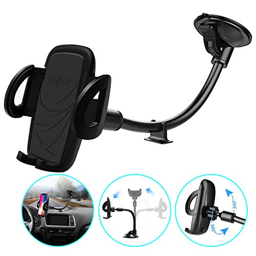 Windshield Phone Mount, Volport Universal Windscreen Dashboard Long Arm Window Car Cradle Suction Cup Phone Holder Stand for iPhone XS Max XR X 8 8 Plus 7 6 6S Samsung Galaxy S10 S9 S8 S7 Google Pixel