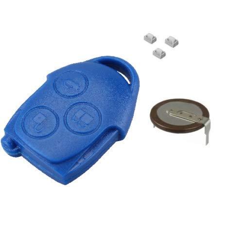 Kit de reparación de cerrajería de automóvil: carcasa azul para llave de 3 botones, 1 batería VL2330