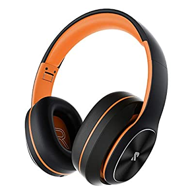 Rydohi Wireless Headphones Over Ear, [100 Hrs Playtime] Bluetooth Headphones, Foldable Hi-Fi Stereo Bass, Soft Memory Earmuffs, Built-in HD Mic, Wired Mode for TV/PC/Phone (Orange) from Rydohi