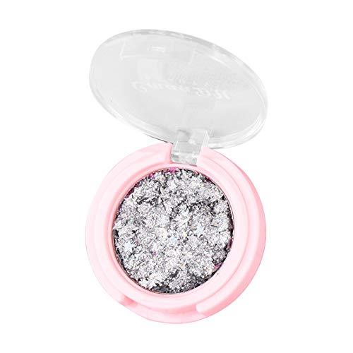Ombre à Paupières Pailleté Fard à Paupières Poudre Hautement Pigmentée Monochrome Imperméable Shimmer Palette Contour des Yeux, éclats de Diamant étoile Lune Maquillage Chatoyante (N, 4.5*4.5*1.3)