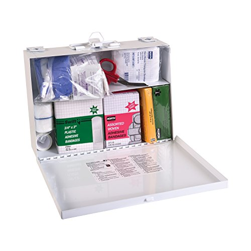 DMI Basic First Aid Kit, 25 Person, Metal, Can Mount to a Wall, White
