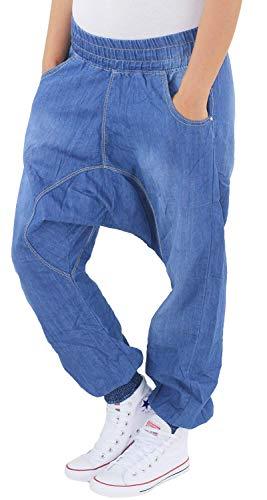Sotala Damen Boyfriend Aladin Baggy Harem Jeans Hose Pumphose Pluderhose Chino Haremshose Aladinhose A 40 (L)