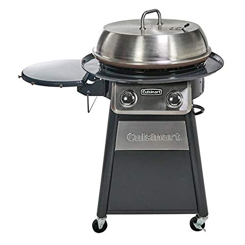 CUISINART CGG-888 Grill Stainless Steel Lid 22-Inch Round Outdoor Flat Top Gas, 360° Griddle...