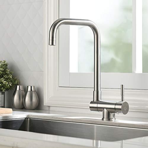 CECIPA Fonti H206S | 180°umgeklappbare Vorfenster Küchenarmatur aus Edelstahl | Wasserhahn Küche mit Zweistrahlarten