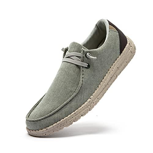 Uomo Scarpe da Ginnastica Slip on Sneakers Basse Scarpe Stringate Scarpe Barca Casual Mocassini Camminata Traspirante Cachi 43