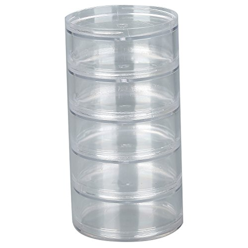 TDOTM 4/5 Layer Big Cylinder Stackable Transparent Round PS Plastic Cosmetics Jewelry Beads Sewing Pills Storage Container Box (5Layer)