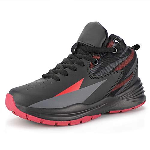 Hawkwell Kids Casual Outdoor Basketball Shoes(Little Kid/Big Kid),Black Red PU,4 M US