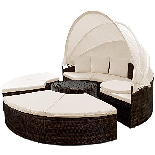 HFRR Conjunto de muebles de terraza grande con mesa auxiliar de dosel y tumbona (marrón)