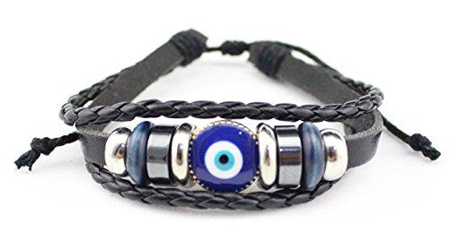 Unisex Mal de ojo cuentas piel Adjustbale Wrap pulseras color negro