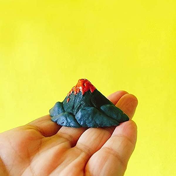 ZAMTAC New Escape Volcano Miniatures Fairy Garden Gnome Home Terrarium Decor Crafts Statue DIY Supplies Color Red