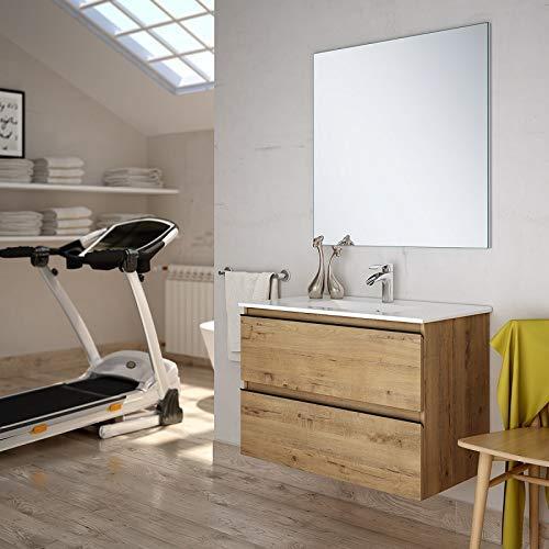 Aquareforma | Mueble de Baño con Lavabo y Espejo | Mueble Baño Modelo Sundee 2 Cajones Suspendido | Muebles de Baño | Diferentes Acabados Color | Varias Medidas (Roble, 80 cm)