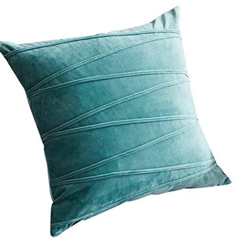 SNOWINSPRING Funda de CojíN de Felpa Fundas de Almohada Decorativa una Rayas para Sala de Estar Sofá Dormitorio con Cremallera Invisible-Verde Claro