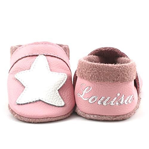 Krabbelschuhe Babyschuhe Lauflernschuhe mit Namensstickerei Seestern weiches Leder rosa