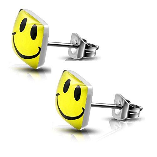 Bungsa© Ohrstecker HAPPY SMILEY silber/gelb - eckige Ohrringe mit lachendem SMILEY - nickelfreier EDELSTAHL Ohrschmuck für Kinder, Frauen & Männer - niedliche EMOJI Earstuds mit Smiley