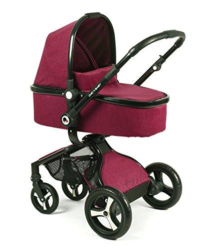 CHIC 4 BABY 165 35 Kombi-Kinderwagen Platino, inklusive Sportwagenaufsatz, Babywanne und Maxi-Cosi Adapter, Jeans, rot