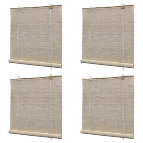 vidaXL 4X Naturlig bambu rullgardiner damm med en trasa eller en fjäder dammtrasa rum rullgardin kök kontor gardin naturlig bambufärg