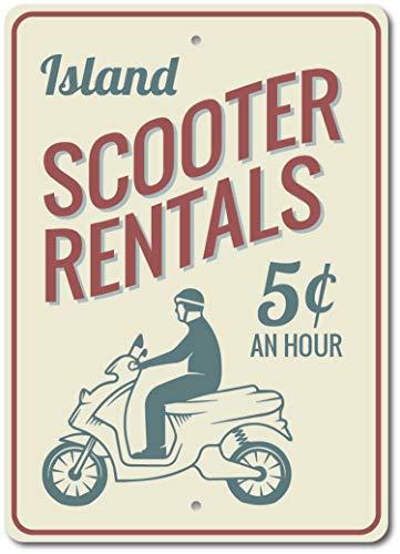 Scooter Verhuur Teken Vakantie Verhuur Teken Scooter Decor Metalen Teken Thuis Vintage Metalen Teken 8x12 inches