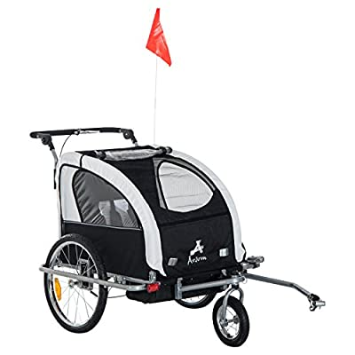 Aosom Elite 360 Swivel 2-in-1 Double Child Two-Wheel Bicycle Cargo Trailer and Jogger with 2 Safety Harnesses, White