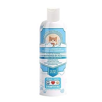 PAWTITAS Le shampooing et revitalisant pour Chats à l'avoine Naturelle Laisse Le Pelage de Votre Chaton Propre, Soyeux et Lisse. Shampooing hypoallergénique pour Chats pour Le toilettage, 16 OZ