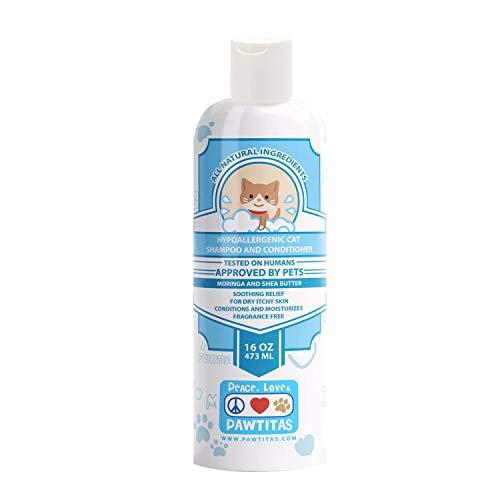 PAWTITAS Natural Oatmeal Katzenshampoo and Conditioner hinterlässt Ihr Kätzchenfell sauber, seidig und geschmeidig. Hypoallergenes Pet Shampoo für die Pflege, 16 OZ