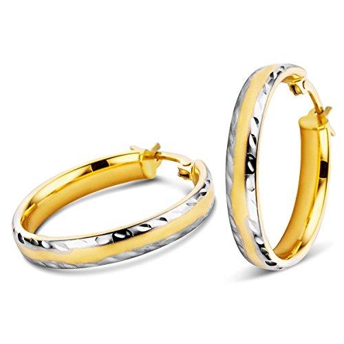 Orovi Ohrringe Damen Bicolor Gelbgold/Weißgold 14 Karat / 585 Gold Creolen