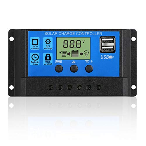 EEEKit 20A Solar Charger Controller Solar Panel Battery Intelligent Regulator with USB Port Display 12V/24V