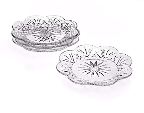Crystal Desert Plates, 5 Inch Canape Plates for Appetizer, Desert, Fruit, Salad and Cake, Set of 4 Clear Glass Plates
