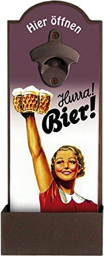 Blechwaren Fabrik Braunschweig GmbH Wandflaschenöffner - HURRA Bier - Flaschenöffner für die Wand auf MDF Platte mit Blechbox GRV001