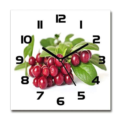 Tulup Zegar szklany - 60 x 60 cm - zegar ścienny sztuka ścienna obraz szkło hartowane zegar prawdziwe szkło kuchnia salon - czarny - borówka cenowa