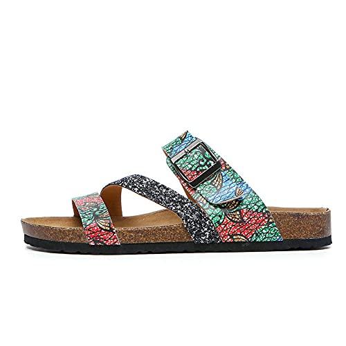 COQUI Zapatillas casa,Zapatillas de Mujer Zapatos Antideslizantes Cruzados de Flips de Verano para Hombres de Verano-Verde_37