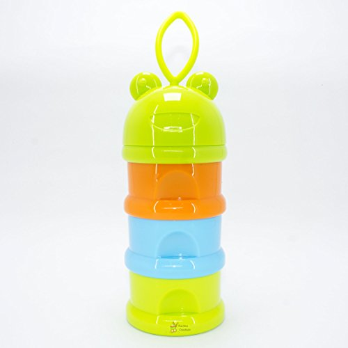 Rachna's Unbreakable 3 Layer Portable Baby / Infant Spill-Proof Milk Powder Container Food Storage Box with Funnel - 9051 - Green + Blue + Orange