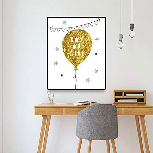 ganlanshu Goldene Glitzerballonfahne des Leinwandplakats kreative Wanddekoration, die Wohnzimmergeburtstagsgeschenk an Kinder Malt,Rahmenlose Malerei,70x90cm