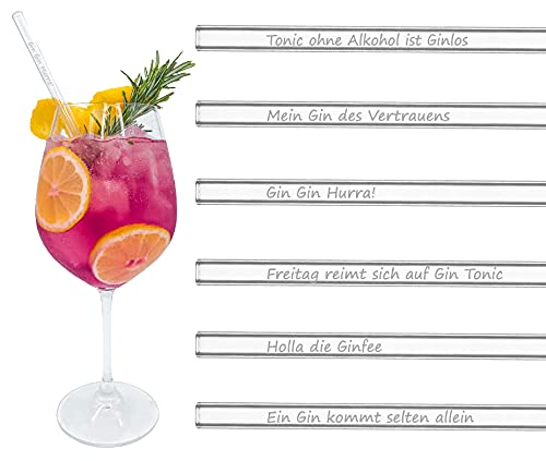 BRILLIANT INFUSION   Glas-Strohhalme GIN EDITION   6x 20cm   Gin Geschenkset   Hochwertige Gravur mit unterschiedlichen deutschen GIN-SPRÜCHEN   Hygienisch & Spülmaschinenfest   + Reinigungsbürste