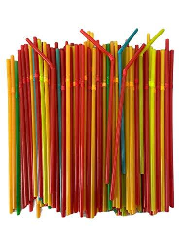 ZERAY 500 pajitas flexibles en diferentes colores neón, pajitas de plástico, pajitas de plástico